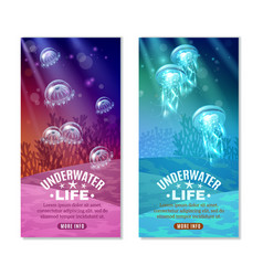 Underwater colorful banners set vector