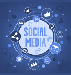 Social media concept banner with round icons vector