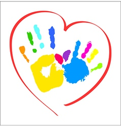 Mothers and kids hands in a heart vector