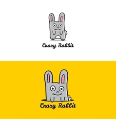 Funny cartoon rabbit mascot logotype vector