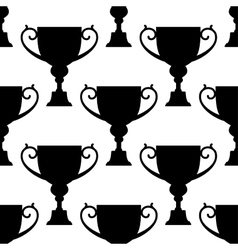 Trophy cup silhouettes seamless pattern vector