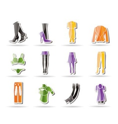 woman and female clothes simple icons vector image