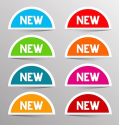Colorful new labels - paper bent circle set vector