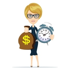 Woman with clock and money vector image