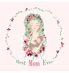 Mom and baby with flowers vector