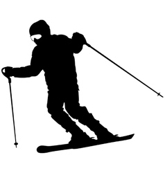 Mountain skier speeding down slope sport vector