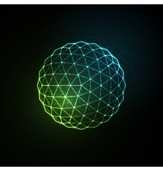 3d illuminated neon sphere of glowing particles vector