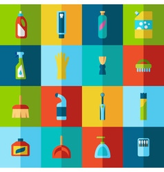 Household chemicals and cleaning supplies bottles vector