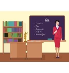 School Law female teacher in audience class vector image