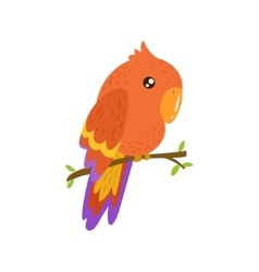 Red macaw realistic childish vector
