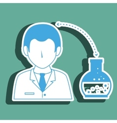 Doctor with lab tube isolated icon design vector
