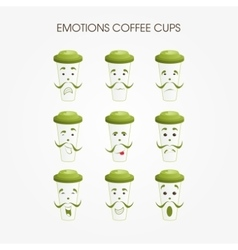 Emotional coffee mugs vector