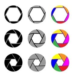 Aperture in nine different variants vector