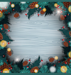 Border template with christmas pinecones vector