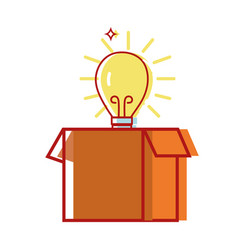 box package open with bulb idea vector image