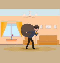 cartoon man thief stealing an apartment vector image