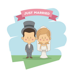 color sky landscape scene of just married couple vector image
