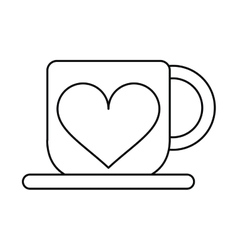 Cup coffee love heart hot outline vector