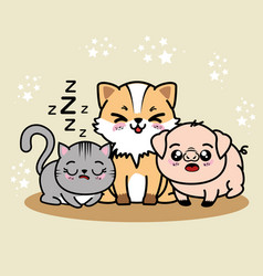 Cute and lovely animals cartoon vector