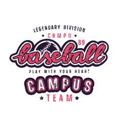 Emblem of campus baseball team vector