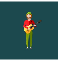 flat of a musician guy with the guitar music vector image