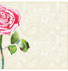 floral background with watercolor rose vector image vector image