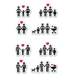 Gay lesbian couples and family children icons vector image