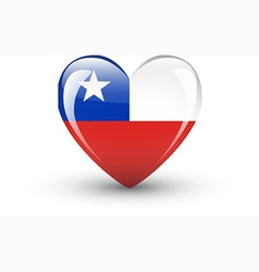 Heart-shaped icon with national flag of Chile vector image vector image