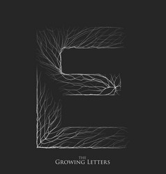 Letter e of branch or cracked alphabet e vector