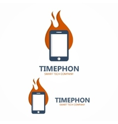 Logo combination of a fire with phone vector
