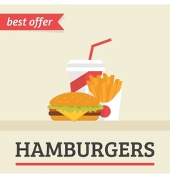 Lunch french fries burger and soda takeaway vector image vector image