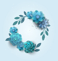 Paper beech with blue flowers vector