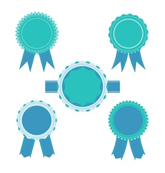 Retro blue color set of ribbon banner badges vector