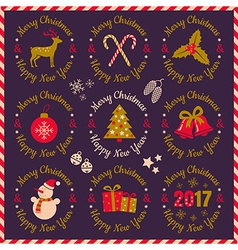 set christmas banners violet 2017 vector image vector image