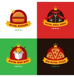 Set of bright royal food delivery and vector