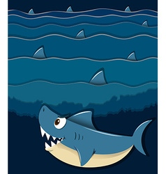 Shark swimming under the sea vector image vector image