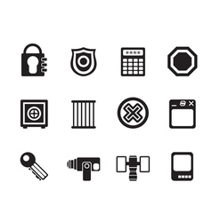Silhouette Security and Business icons vector image vector image