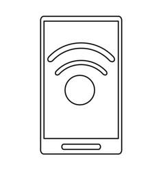 Smartphone technology connected wifi internet line vector