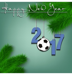 Soccer ball and 2017 on a christmas tree branch vector