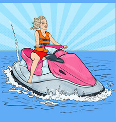 Woman riding jet ski water sports pop art vector