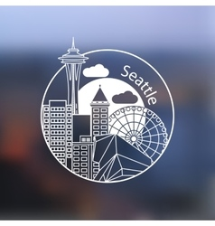 Seattle one line design on blurred background vector image