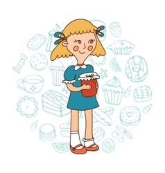 Cute girl holding a jar of jam vector image