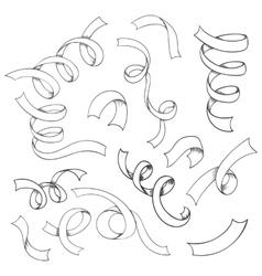 Hand drawn set of ribbons vector image