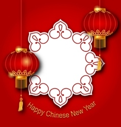 Holiday clean card with chinese lanterns for happy vector