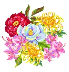 Bouquet with china flowers bright buds of vector