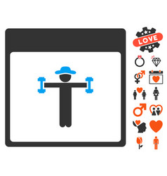 Gentleman fitness calendar page icon with dating vector