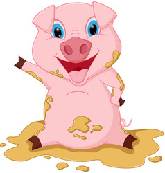 Happy pig cartoon playing mud vector