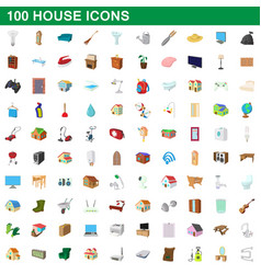 100 house icons set cartoon style vector