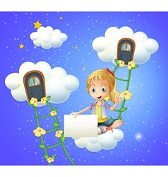 A girl sitting on a cloud holding an empty signage vector image