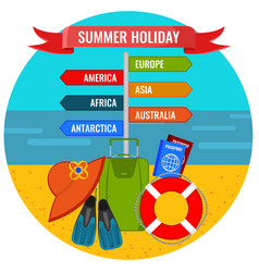 Summer holiday direction sign with destination vector